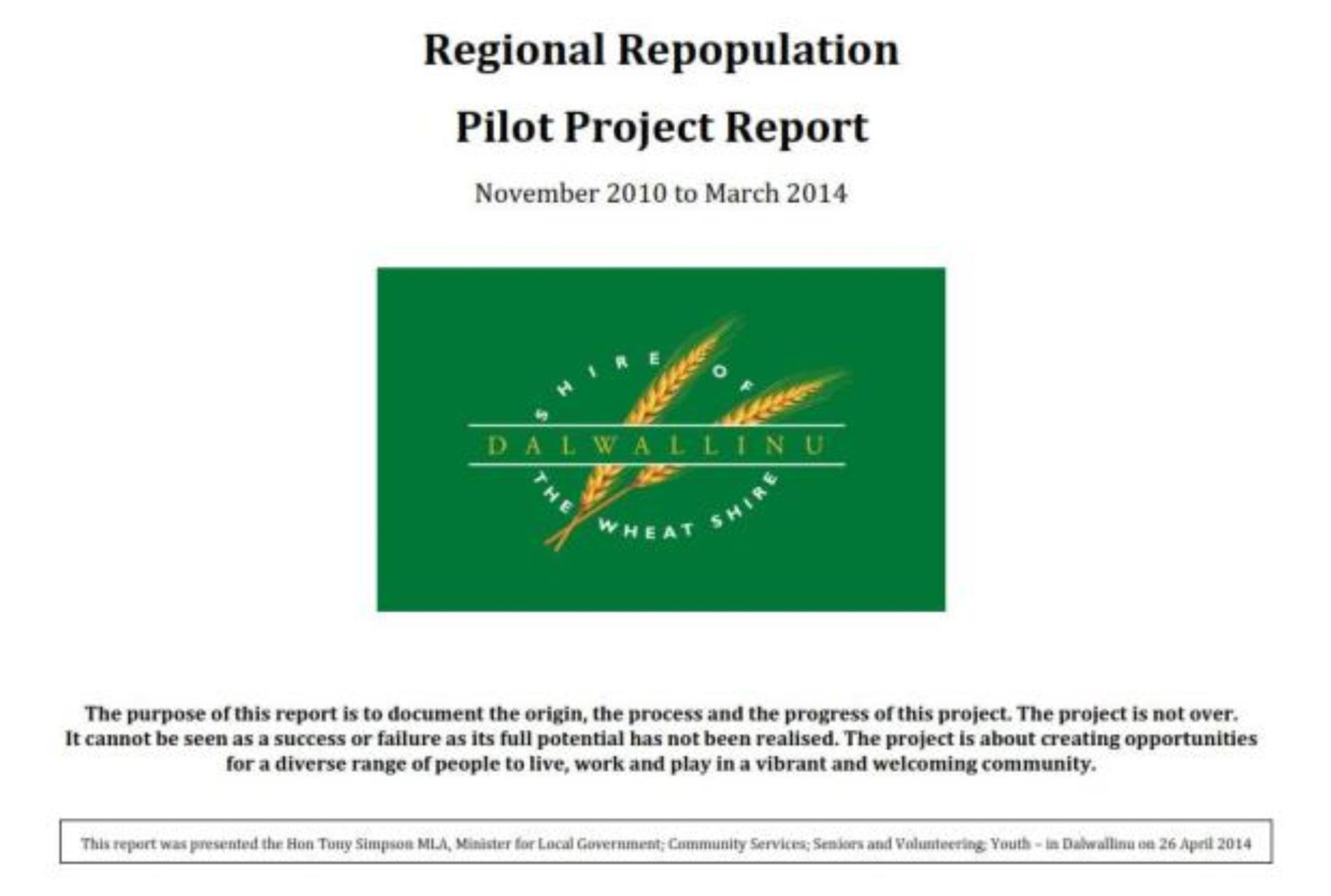 Regional Repopulation Pilot Project Report