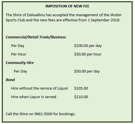 imposition of new fees
