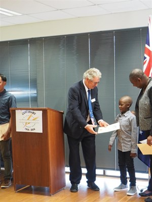 Citizenship Ceremony 27/9/2016 - Citizenship Certificate - Alistair